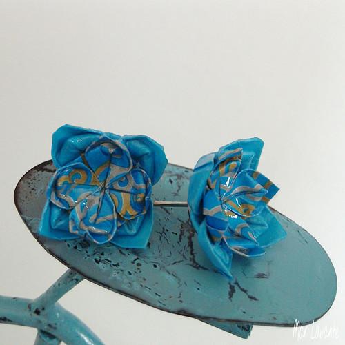 Origami puzety květy do modra II.