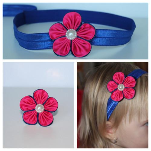 Čelenka pruženka - růžovomodrý květ