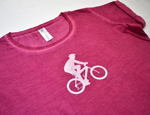 Vínové melírované dámské triko s cyklistou M