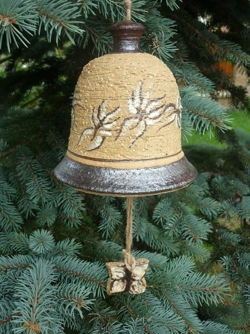 Keramický zvon - motýli-17cm