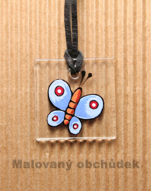 Skleněný přívěsek-motýl Modrásek