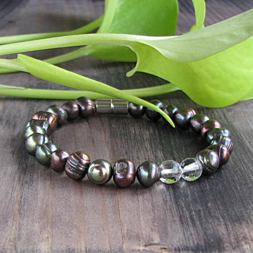 Náramek černé perly, křišťál, stříbro