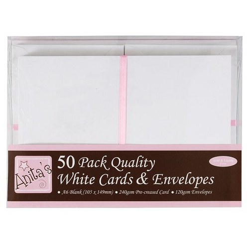 Blahopřání a obálky A6 50ks / bílé / sada