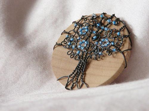 Brož modrý strom I.
