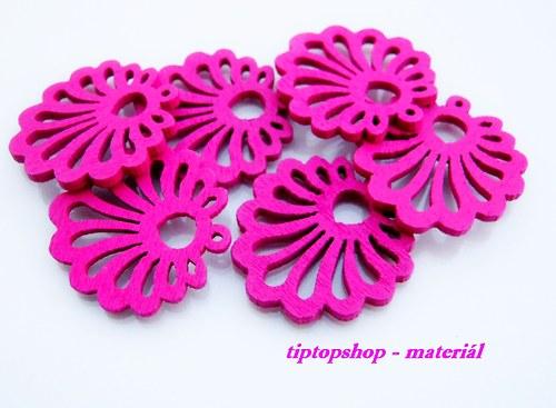 Dřevěné filigrány mušle tmavě růžové (6ks)