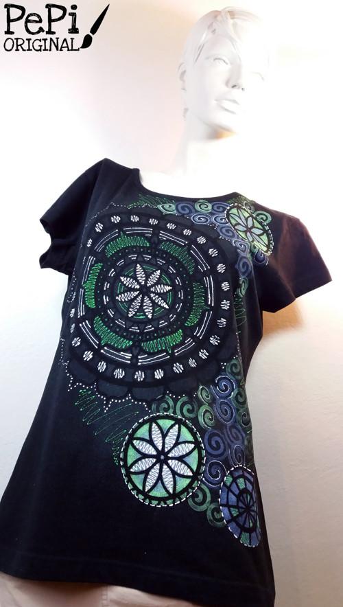 """Malované tričko \""""Mandala v černé\"""""""