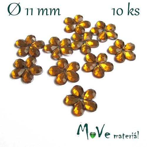 Květina plast Ø11mm našívací  10 ks žlutooranžová
