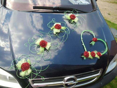 Svatební dekorace - zelená s bordo