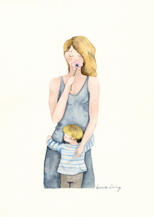 Maminka v modrém
