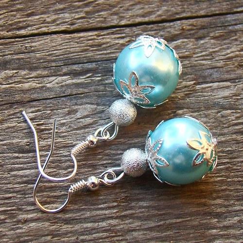 náušnice perličky ve stříbře