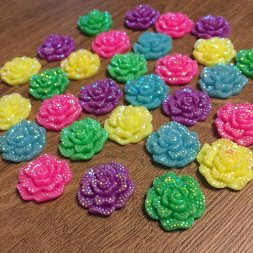 Kabošon růže 25 mm 28 ks - mix barev