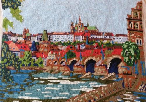 Vyšívaný obraz - Praha
