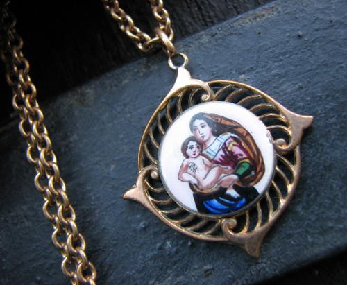 Madona - secesní double náhrdelník se smaltem