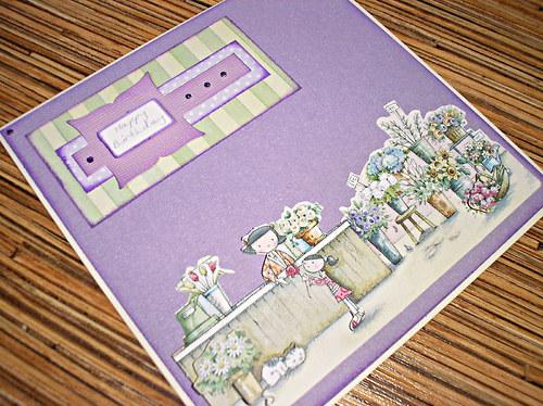 Roztomilé květinové přání k narozeninám...fialové