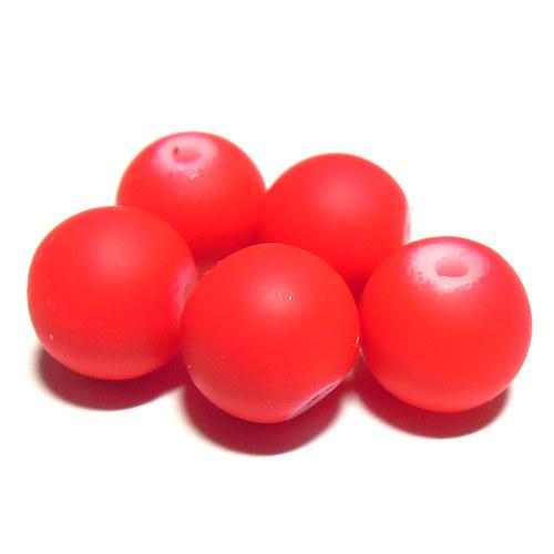 Perly matné - 10 mm - malina - 7 ks
