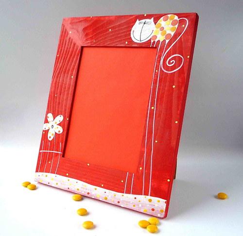 speciální mailový rámeček velký - červený s kočkou
