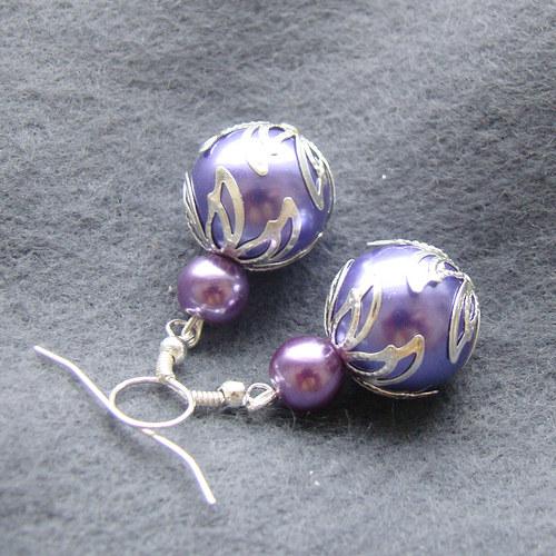 náušnice  velké lila perličky s lístky