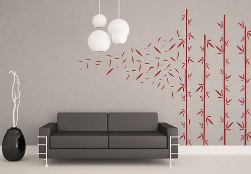 Bambus 60x34cm+listy Nálepka na stenu 3075n