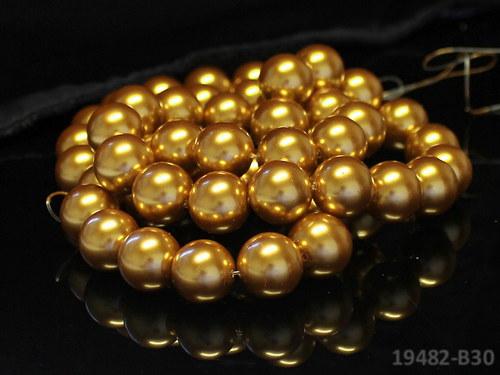 19482-B30 Voskované perly 16mm ZLATÉ, bal. 2ks