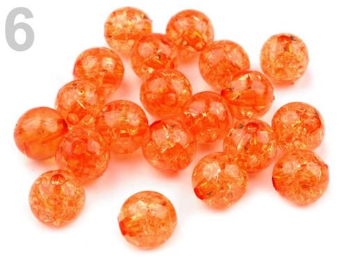 Plastové korálky kraklované Ø10mm (20ks) - oranž