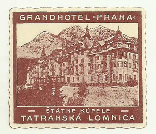 Hotelové nálepky Grandhotel Praha