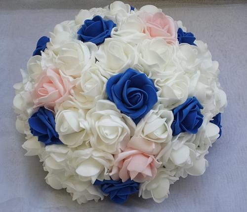XXL Buket na svatební auto modrá a růžová