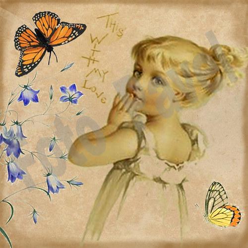Vintage motiv - dítě s motýlem