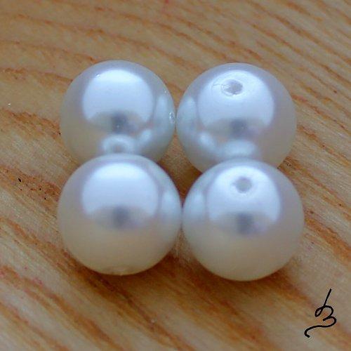 Voskové perle bílé 12 mm - 6 ks