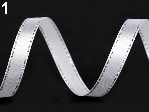 Atlasová stuha s lurexem 6mm (5m) - bílá stříbrná