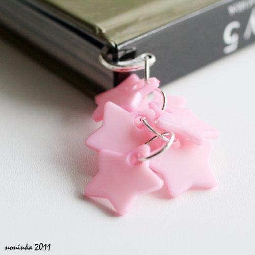 růžová hvězda  - záložka do knihy - VÝPRODEJ