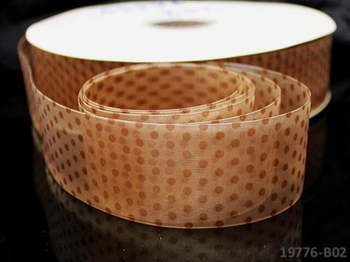 19776-B02 Stuha organza 38mm KRÉMOVÝ puntík