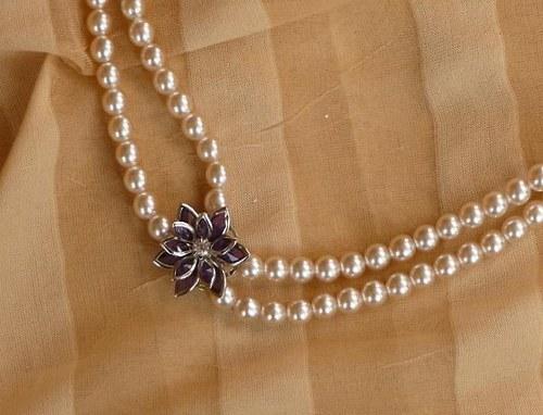 květina fialová - náhrdelník dvouřadý