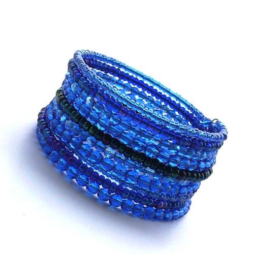 Modrý široký náramek s odlesky - 15% sleva!!!