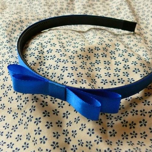 Královsky modrá čelenka s mašlí
