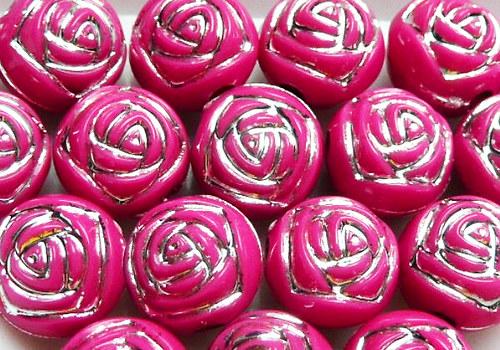 Plastové korálky s růžičkou 8 mm - tm. růžová /5ks