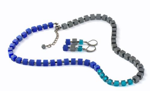 Kostičkový set plný hematitový s modrou a petrolej