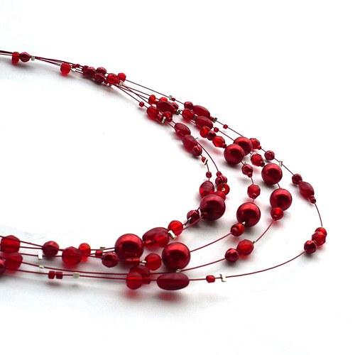 Červený pětiřadý náhrdelník
