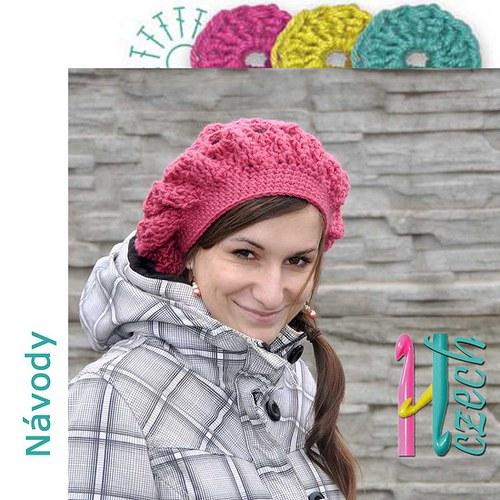Háčkovaný baret výrazný růžový zimní