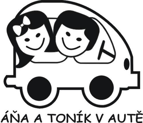 Děti v autě - holka + kluk - jména na přání zdarma