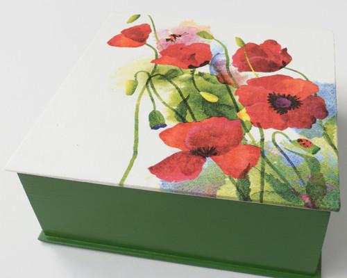 Dřevěná krabička - Vlčí máky (zelená)