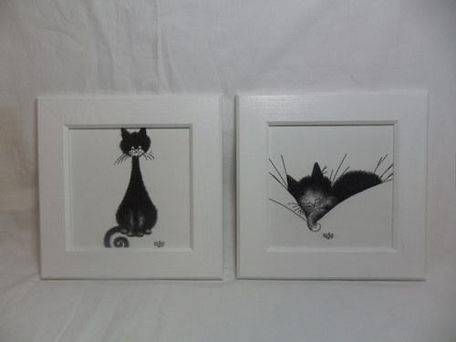 Sada dvou kočičích obrázků