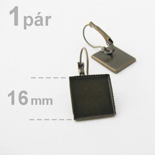 Náušnice s lůžkem čtverec 16x16mm - mosaz - 1pár