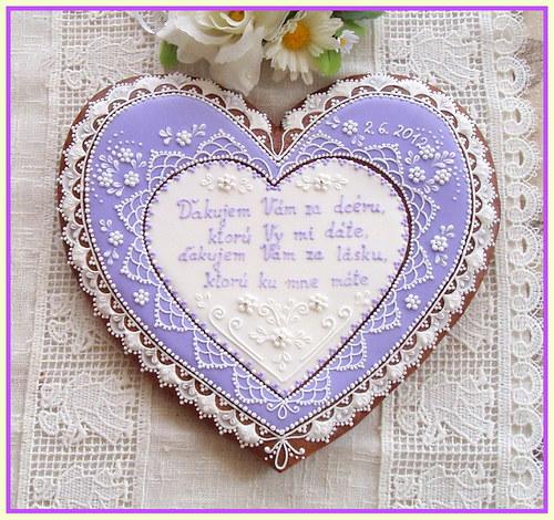Svatební srdce děkovací - fialové
