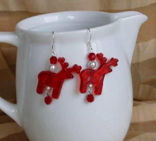 vánoční  náušnice - SOB červený s korálky
