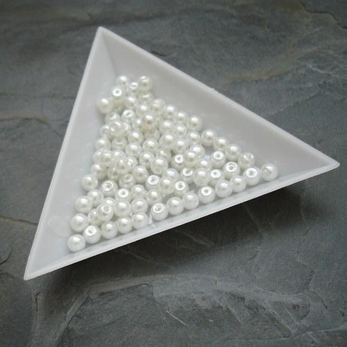 Skleněné voskované kuličky 4mm - 90 ks - bílé