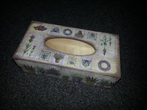 Krabička na kapesníčky -  levandulová hnědá