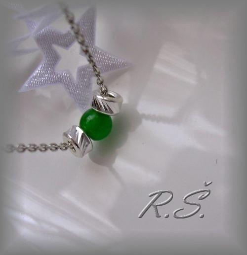 Náhrdelníček zelený onyx a broušené rondetky...