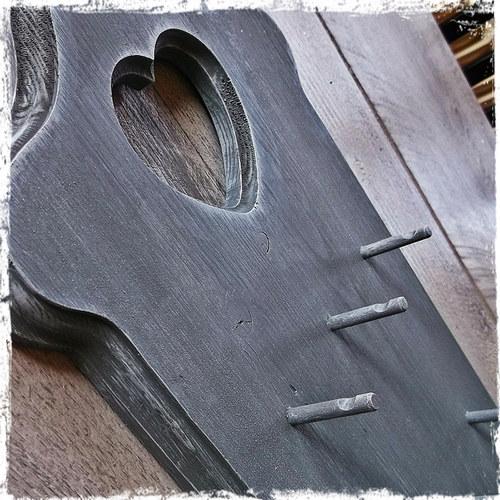 Věšák na klíče 6 vintage malý - šedá patina