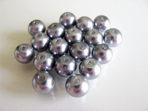 Voskové perle tmavě šedé, 8 mm, 20ks