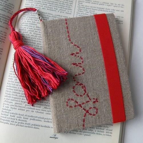 obal na čtečku - Červená se střapcem